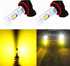 Alla Lighting 3800lm Xtreme Super Bright H16 LED Bulbs Fog Light High Illumination ETI 56-SMD LED H16 Bulb H11 H8 H16 Fog Lights Lamp Replacement - 3000K Amber Yellow