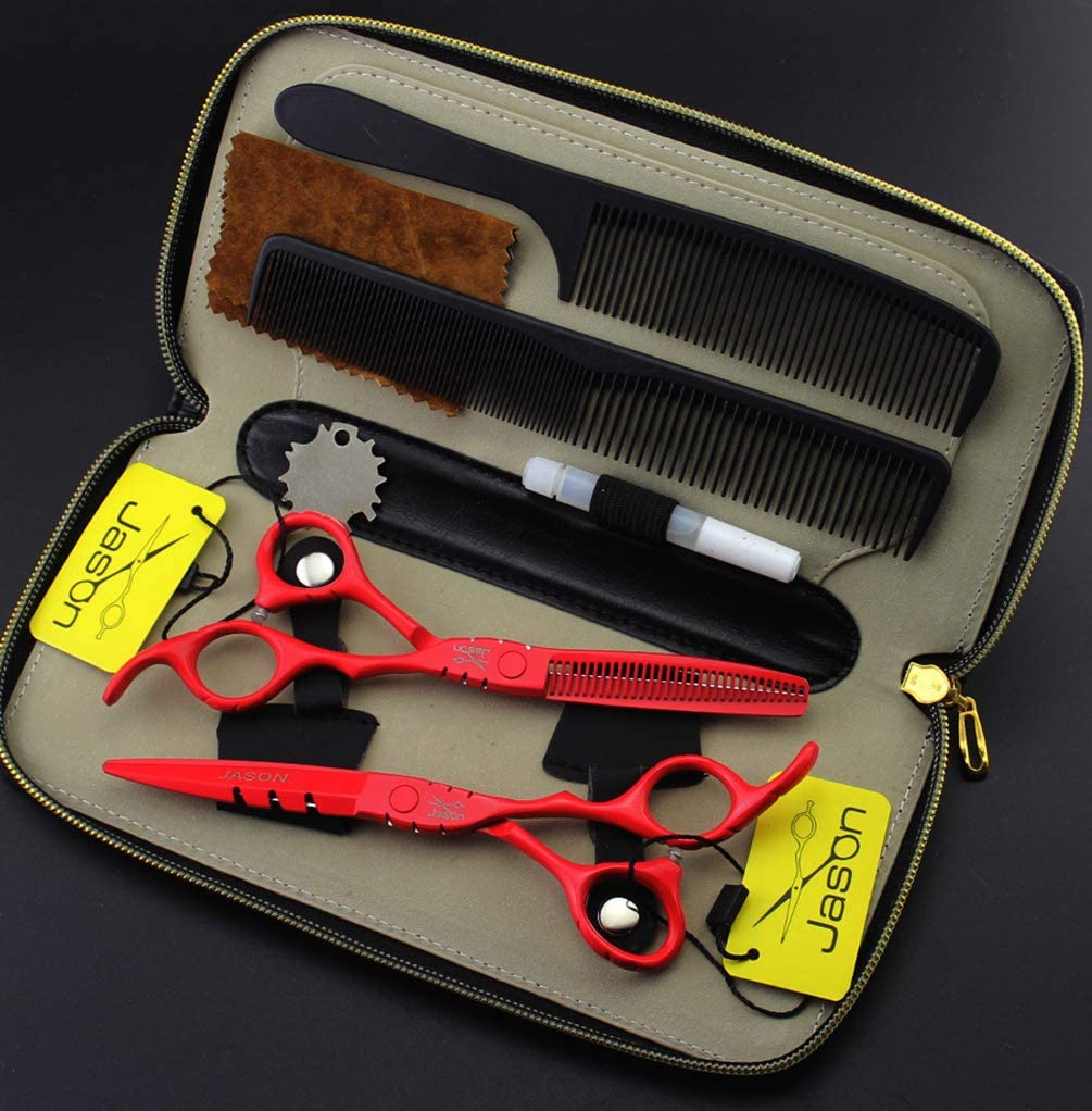 JIARUN 6.0 Inch Hairdressing All Scissors Industry No. 1 Dallas Mall Red Set