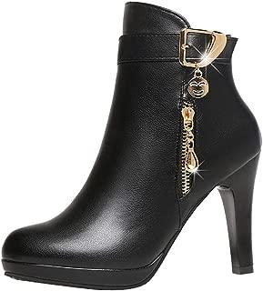 Women Elegant High Heel Faux Leather Ankle Boot Buckle Strap Zipper Short Tube Shoes