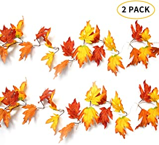 XTF2015 Lighted Fall Garland String Lights Battery Powered Maple Leaves String Lights for Fall Decor, Total 29.4ft 80 LED Fairy Lights for Thanksgiving Gift