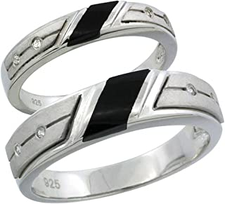 Sterling Silver Cubic Zirconia Wedding Band Ring 2-Piece Set 5.5 mm Him & Hers 3.5 mm Black Onyx, Sizes M 8-14 L 5-10