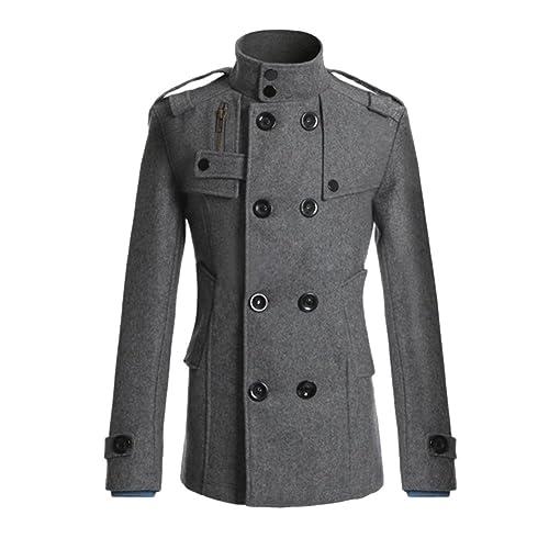 3407ec589 Zeroyoyo Mens Double Breasted Half Trench Pea Coat Winter Long Jacket