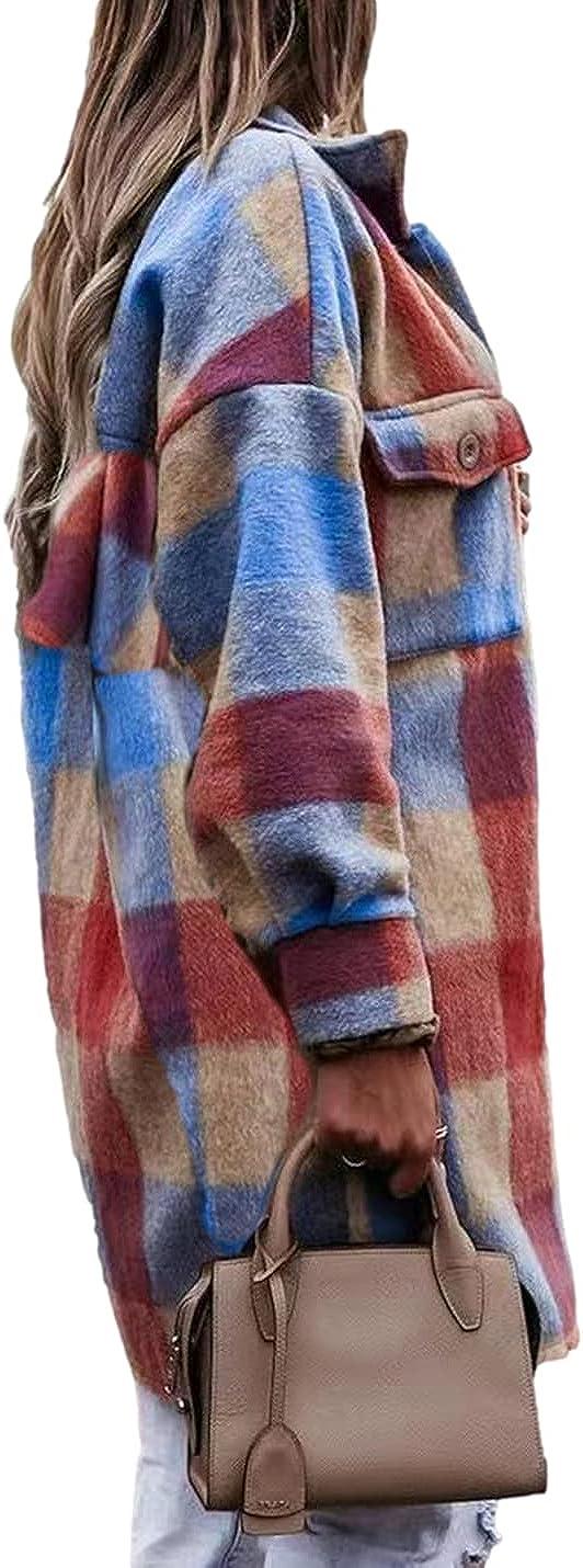 SeekMe Women's Plaid Wool Blend Shirt Jacket Flap Pocket Lapel Thick Mid Long Shacket