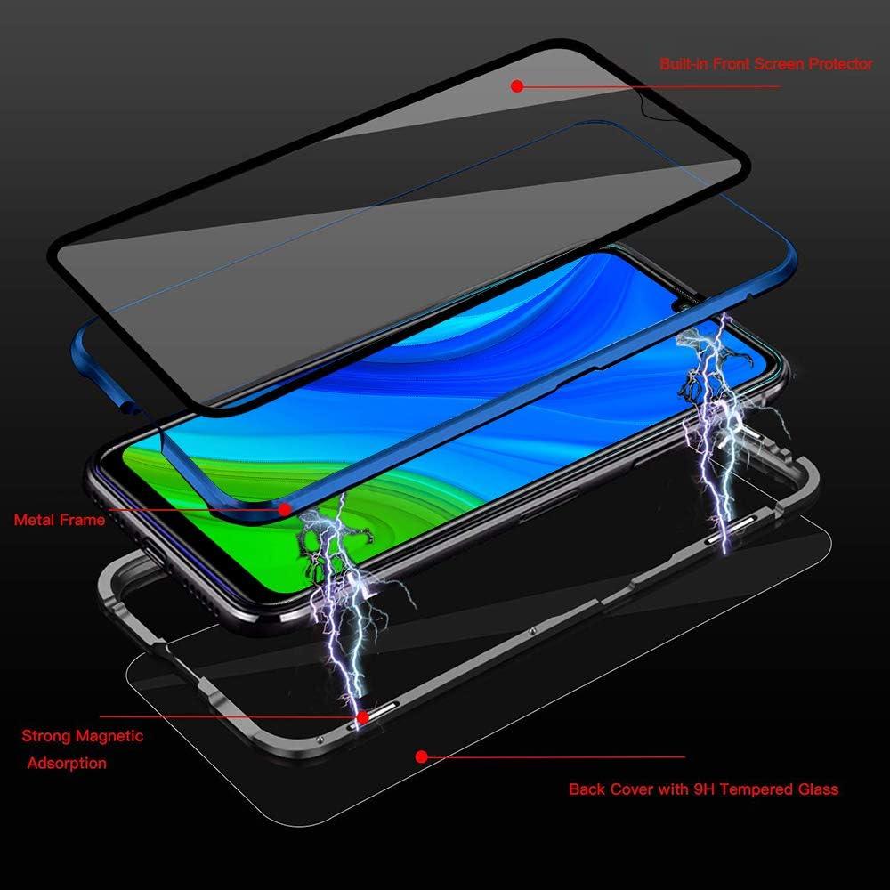 Schutzh/ülle Magnetische Adsorption Metallrahmen und Panzerglas Handyh/ülle Ultra Slim D/ünn Durchsichtig Transparent 360 Grad Full Body Protection Blau Kompatibel mit Huawei P Smart 2020 H/ülle