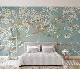 Papel pintado pintado a mano Pintura al óleo Flores de cerezo Fondo de pared de flores del norte de Europa Mural de pared 3D Papel pintado de pared mo papel pintado a papel pintado pared -350cm×256cm