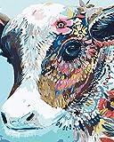 WONZOM Pintura por Números para Adultos y Niños DIY Acrílica Pintura al óleo sobre Lienzo - Vaca Colorida Animales (16 * 20 Pulgadas, Sin Marco)