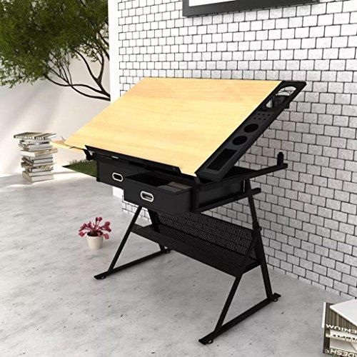 A-ZONE ZMIKI Zeichentisch mit neigbarer Tischplatte 2 Schubladen und Hocker
