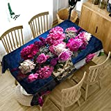 Elibone Thicken Cotton Tablecloth Creative 3D Colorful Flower Dustproof Washable Cloth Rectangular and Round Table Cloth for Wedding,E,40 X 40cm
