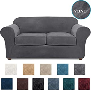 NORTHERN BROTHERS Loveseat Covers for 2 Cushion Couch Velvet 3 Piece Loveseat Slipcover (Gray)