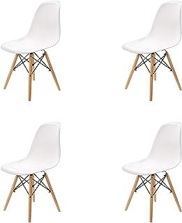 Conjunto de 46 sillas de plástico con patas de madera de diseño elegante y minimalista aptas para comedor dormitorio u ...