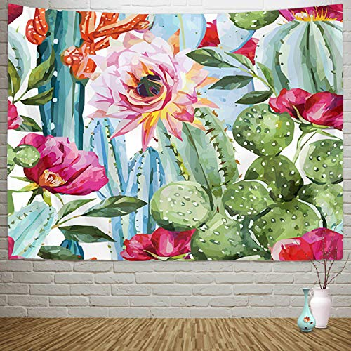 Sylfairy Cactus Tapestry Wall Hanging Floral Tapestries Watercolor Landscape Plant Printed Tapestry Psychedelic Tapestry Bohemian Hippie Tapestry Indian Wall Art for Room 51'x59 (Cactus-B)