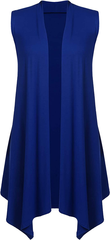 Beyove Women's Sleeveless Cardigan Draped Open Front Vest Asymmetric Hem SXXL