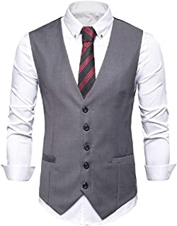 GRMO Men V Neck Slim Solid Formal Hipster Suit Vests Waistcoat