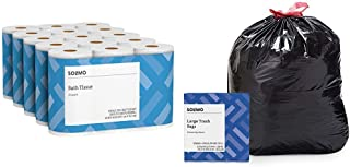 Solimo 2-Ply Toilet Paper, 350-sheets per Roll, 30 Rolls Bath Tissue & Amazon Brand - Solimo Multipurpose Drawstring Trash...