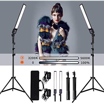 24W LED Dimmable Video Handheld Lights Photography Continuous Output Lighting Lamps with 2M Adjustable Light Stand Kit for Camera Photo Studio Shooting,YouTube,Live(2 Pack )