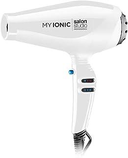 Salon Studio Professional - MyIonic Secador de Pelo Profesional de Iones - 2 Velocidades y 3 Niveles de Temperatura - Color Blanco - Made in Italy