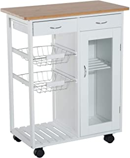 """Sponsored Ad - HOMCOM 28"""" Rolling Kitchen Trolley Serving Cart Storage Cabinet Bamboo Top with Wire Basket & Glass Door & ..."""
