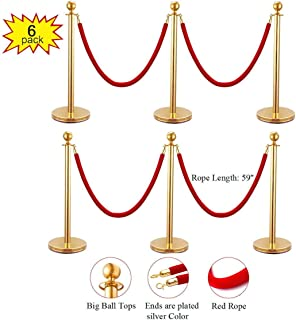 JAXPETY Round Top Polished Brass Stanchion Posts Queue Barrier, Pack of 6 Posts with 4 Red Velvet Ropes,Gold