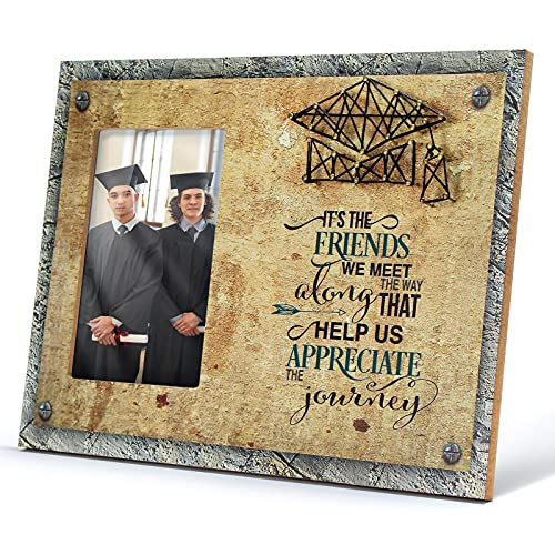 THYGIFTREE 2021 Graduation Gifts for Him-It's The Friends We Meet-4x6 Rustic Graduation Picture Frame Collage with 3D String Art-Best Friend Gifts from Buddy Schoolmate Brothers