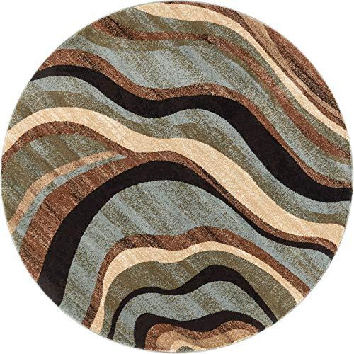 Well Woven Hudson Waves Blue/Brown Geometric Modern Casual 7'10