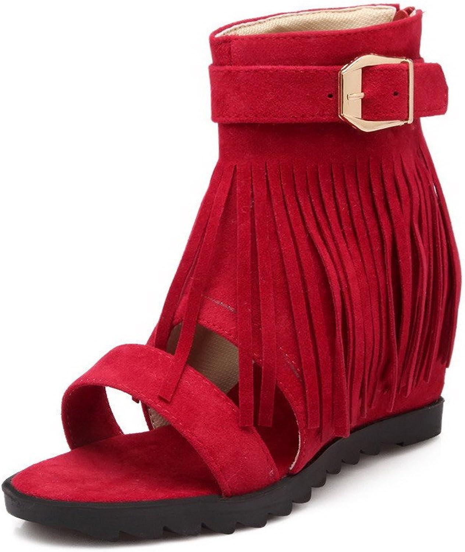 AllhqFashion Women's Imitated Suede Solid Zipper Open Toe Kitten Heels Sandals