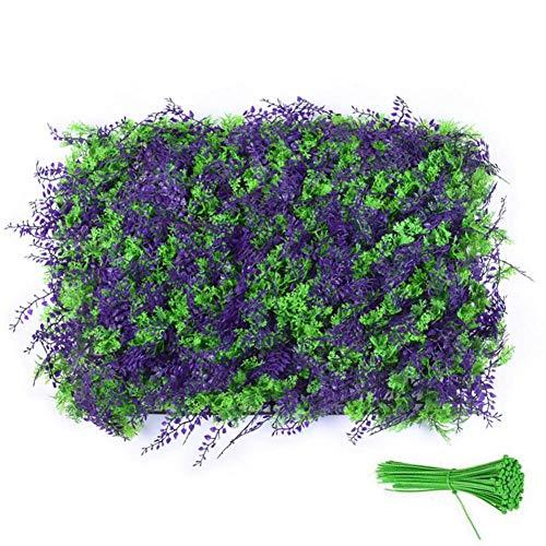 Rollo de seto de Hojas de Hiedra Artificial 40x60 cm, Valla de protección de privacidad para jardín al Aire Libre con Bridas para jardín al Aire Libre, protección contra Rayos UV