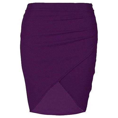edf61c651da Womens Wrap Cross Over Side Ruched Waffle Fabrics Pencil Bodycon Fit Mini  Skirt Plus Size