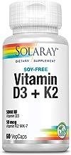 Solaray Vitamina D3 + K2 | Favorece la absorción de calcio y apoya al sistema cardiovascular y arterial | Sin Soja, gluten | Apto para Vegetarianos | 60 VegCap