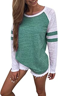 Fashion Stripe Top for Women Casual Long Sleeve T Shirt Crewneck Blouse Junior