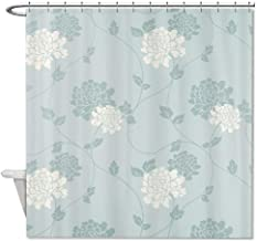 Ashasds Polyester an Duck Egg Blue Floral Shower Curtain Bathroom Decor Home Decorations with Hooks Set 72 x 72 in