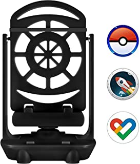 Axiay Phone Swing Device,Phone Swing Automatic Shake,Steps Counter Accessories Compatible for Poke Ball Plus,Pokemon Go Cellphone Pedometer (USB Cable) (Mute Version) (Support 2 Phones),Black