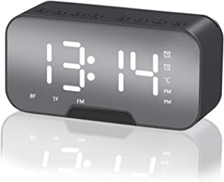 High quality Digital Alarm Clock, Wireless Bluetooth Speakers, Portable Alarm Clock with Mirror, Sleep Timer, with Digital...