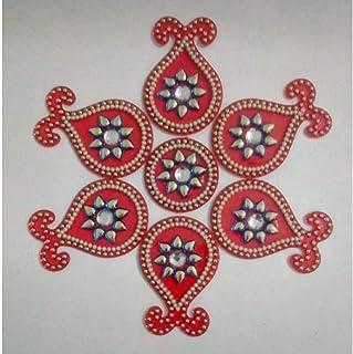BDS CREATIONS Designer Acrylic Flower Shape Handcrafted Decorative Rearrangeable Kundan Rangoli for Floor Decoration (Red)