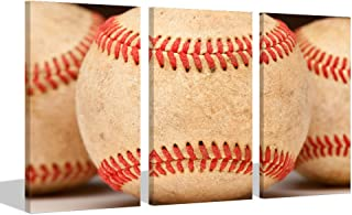 Visual Art Decor American Sports Poster Close Up of Aged Vintage Red Baseball Seams Canvas Wall Art Picture Prints Home Decor Wall Art Kids Sports Game Room Decoration (01 Baseball, 16