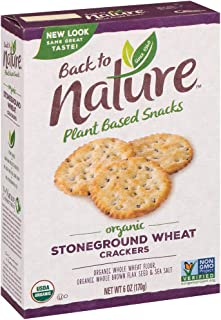Back to Nature Crackers, Organic Stoneground Wheat, 6 Ounce