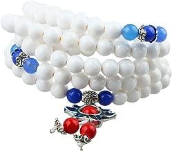 SUNYIK 108 Stone Mala Bracelet,Stretch Tibetan Buddhist Necklace Prayer Beads for Unisex