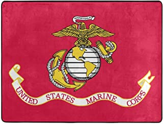 Area Rug Flag of The United States Marine Corps Memory Foam Super Cozy Ultra Soft Anti-Skid Indoor Modern Carpet Dining Room Home Bedroom Floor Mat (4 X 5.3ft )