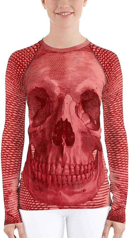 Frox Apparel Design Red Dead Skull Women's Rash Guard by Ross Farrell