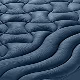 SLEEP ZONE Athlete-Grade Mattress Pad Cover Cooling Overfilled Soft Fluffy Ergonomic Topper Zone Design Upto 21 inch Deep Pocket with Wide Elastic Skirt, Navy, Twin