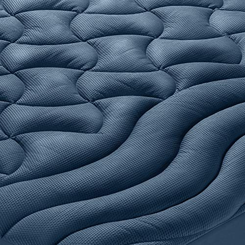 SLEEP ZONE Athlete-Grade Mattress Pad Cover Cooling Overfilled Soft Fluffy Ergonomic Topper Zone Design Upto 21 inch Deep Pocket with Wide Elastic Skirt, Navy, King
