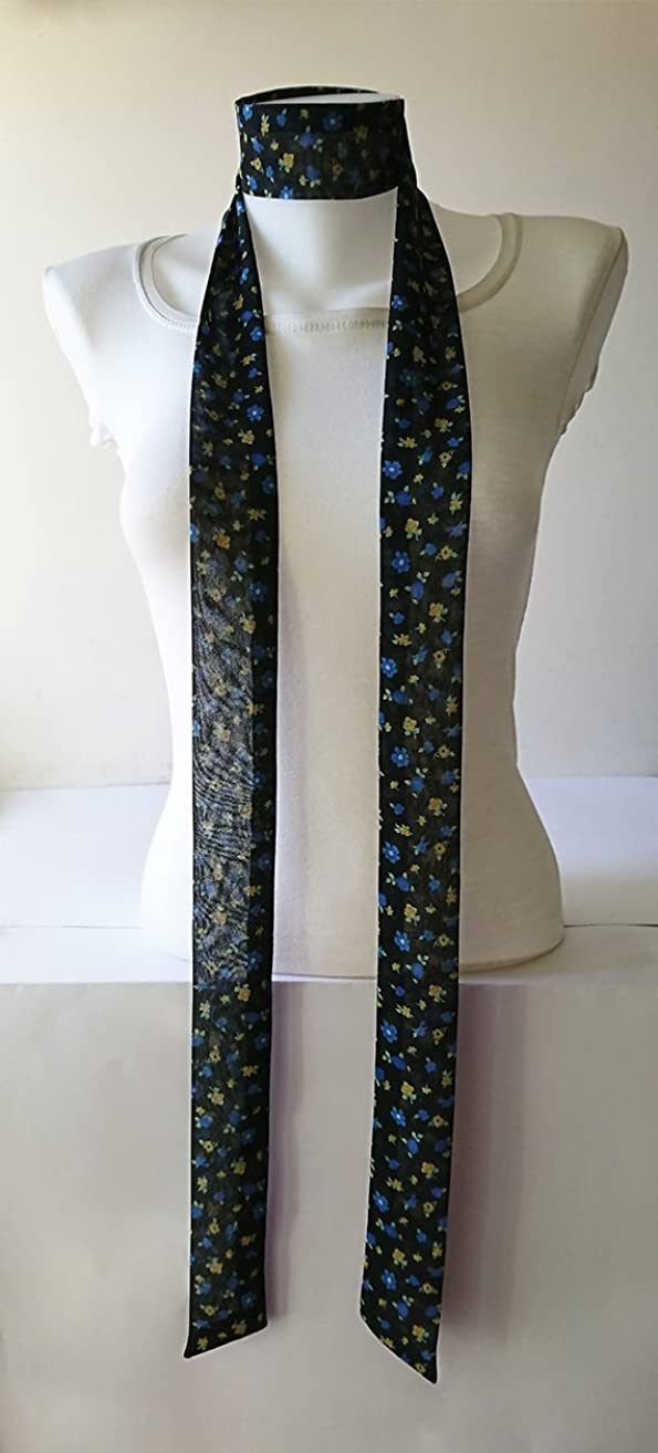 Black Floral Skinny Scarf, 80