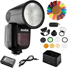 Godox V1-F Flash for Fuji with Godox AK-R1 and PERGEAR Color Filters Kit, 76Ws 2.4G TTL Round Head Flash Speedlight, 1/8000 HSS, 1.5S Recycle Time, 2600mAh Lithimu Battery, 10 Level LED Modeling Lamp