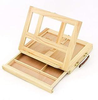 RISHIL WORLD® مسند طاولة درج خشب الصنوبر حامل اللوحة لوحة فن الرسم مربع لوحة سطح المكتب لوحة رسم دائمة