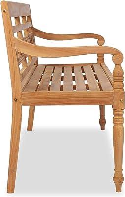 Tidyard Batavia Bench Dining Room Bench 150 cm Teak Fine Sanded Teak Hard Wood with Finish 150 x 51.5 x 84 cm (W x D x H)