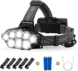 Briignite Rechargeable Headlamp, 8 LED High Lumen Headlamp Flashlight 6 Modes with White Red Lights, 18650 USB Rechargeabl...