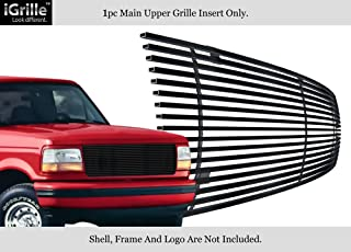 APS Compatible with 1992-1996 Ford Bronco F-150 F-250 F-350 Stainless Black Billet Grille Grill F85007J