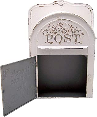 White Painted Tin Wall Mounted Mailbox, 10 1/4 Inch