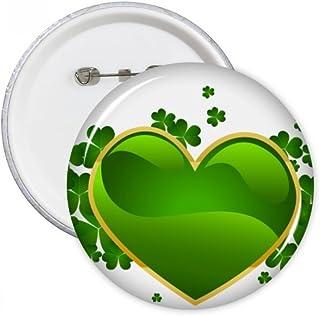DIYthinker Trèfle à quatre feuilles d'or côté coeur Irlande ronde jour de St Patrick Pins Badge Bouton Vêtements Décoratio...