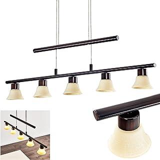 Lámpara colgante LED Nellim de metal en colores óxido - alargada 5 llamas para comedor, sala de estar - 3000 Kelvin - 6000 Lumen