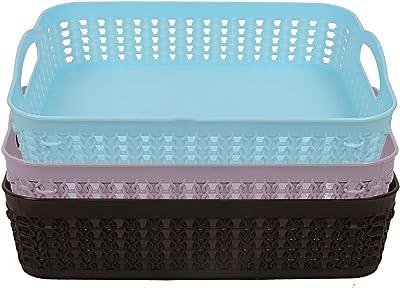 Heart Home Plastic 3 Pieces Multipurpose Storage Basket Set (Blue, Grey & Black)- CTHH20026
